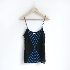 Parker beaded chevron silk tank - size Medium